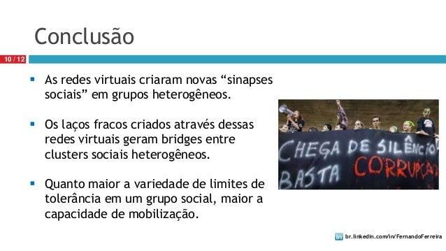 """br.linkedin.com/in/FernandoFerreira10 / 12Conclusão As redes virtuais criaram novas """"sinapsessociais"""" em grupos heterogên..."""