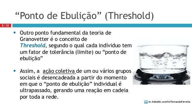 br.linkedin.com/in/FernandoFerreira5 / 12 Outro ponto fundamental da teoria deGranovetter é o conceito deThreshold, segun...