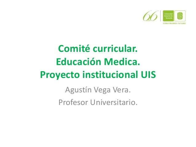 Comité curricular. Educación Medica. Proyecto institucional UIS Agustín Vega Vera. Profesor Universitario.