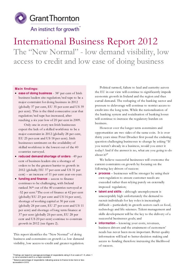 """International Business Report 2012The """"New Normal"""" - low demand visibility, lowaccess to credit and low ease of doing busi..."""