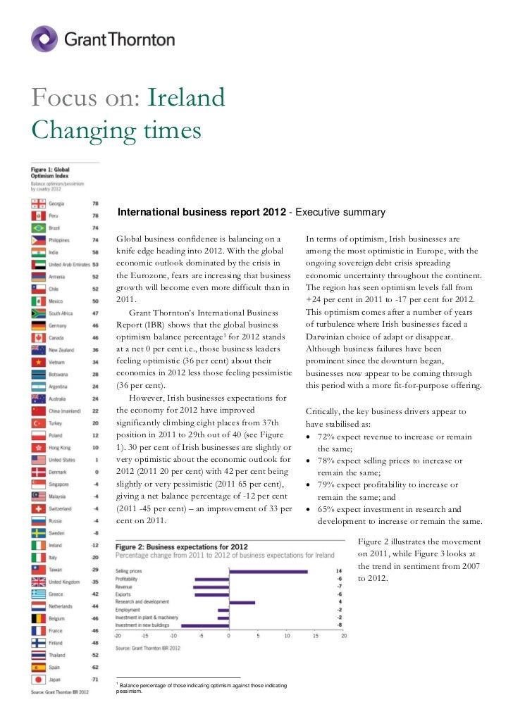 Focus on: IrelandChanging times       International business report 2012 - Executive summary       Global business confide...