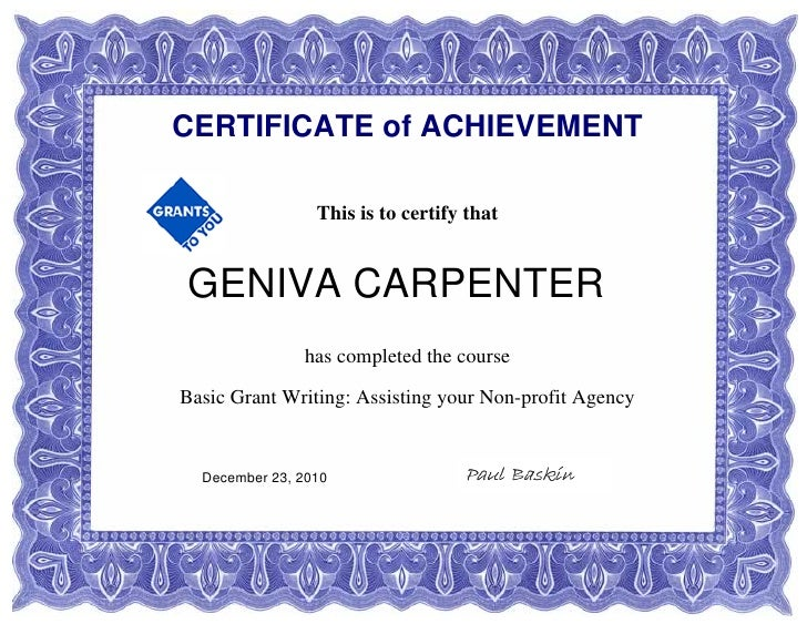 certificate in grant writing Earn your certificate online from the mendoza the university of notre dame joins the rest of the nation in grant writing course helps lifelong.