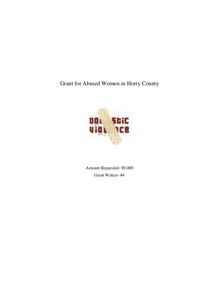 Grant for Abused Women in Horry County<br />Amount Requested- $9,000<br />Grant Writers- #4<br />Grant for Abused Women in...