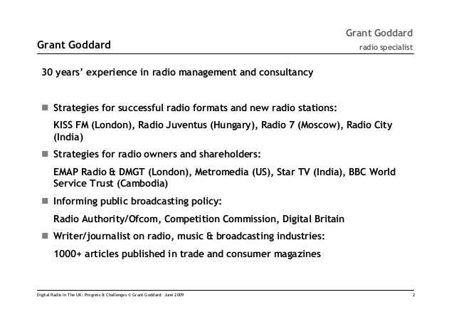 Digital Radio In The UK: Progress & Challenges' by Grant Goddard