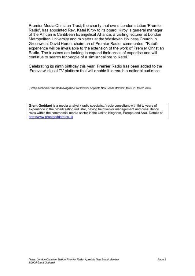 "'News: London Christian Station ""Premier Radio"" Appoints New Board Member' by Grant Goddard Slide 2"