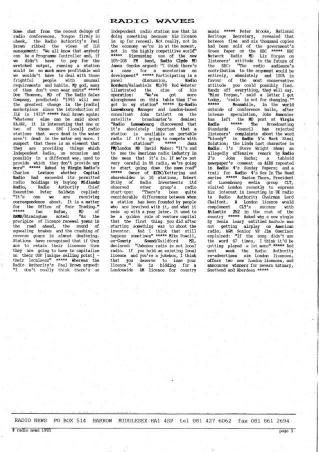 'Radio News: No. 16, 26 February 1993' by Grant Goddard Slide 3