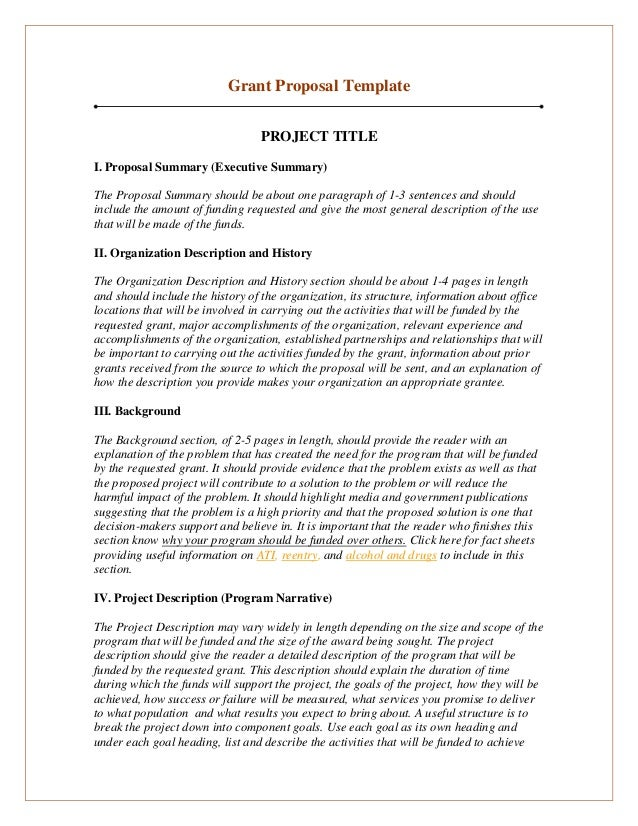 grant proposal template project title i proposal summary executive summary the proposal summary