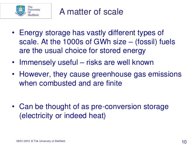 09/01/2015 © The University of Sheffield 10 • Energy storage has vastly different types of scale. At the 1000s of GWh size...