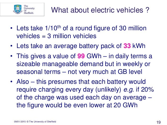 09/01/2015 © The University of Sheffield 19 • Lets take 1/10th of a round figure of 30 million vehicles = 3 million vehicl...