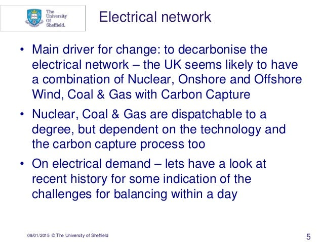 09/01/2015 © The University of Sheffield 5 • Main driver for change: to decarbonise the electrical network – the UK seems ...