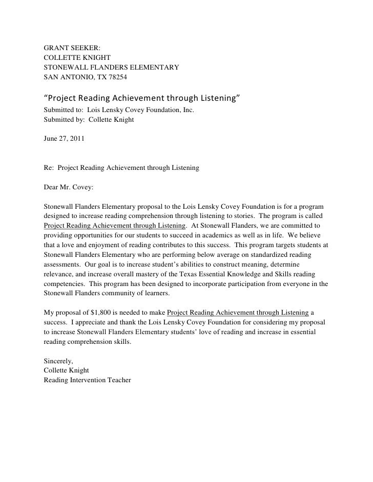 Grant Writing Examples Gallery - Resume Cover Letter Examples