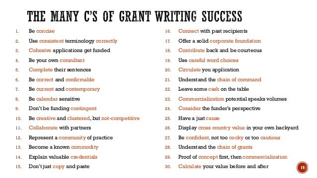 writing grant applications Grant applications are made to a particular program the tips for writing a successful grant proposal section gives useful advice on how to write a successful.