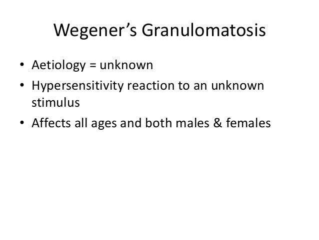 Wegener's Granulomatosis • Aetiology = unknown • Hypersensitivity reaction to an unknown stimulus • Affects all ages and b...