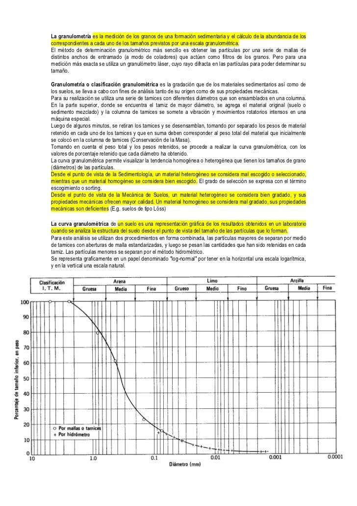 La granulometría es la medición de los granos de una formación sedimentaria y el cálculo de la abundancia de los correspon...