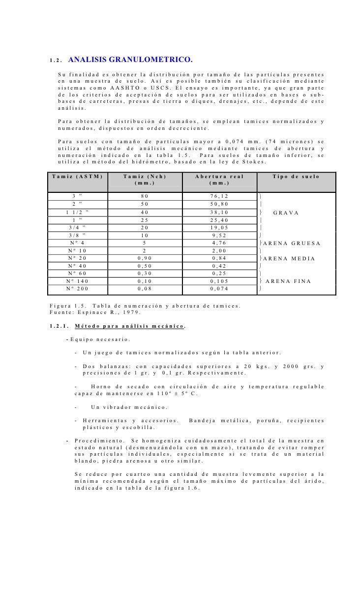 1.2.   ANALISIS GRANULOMETRICO.  Su finalidad es obtener la distribución por tamaño de las partículas presentes  en una mu...