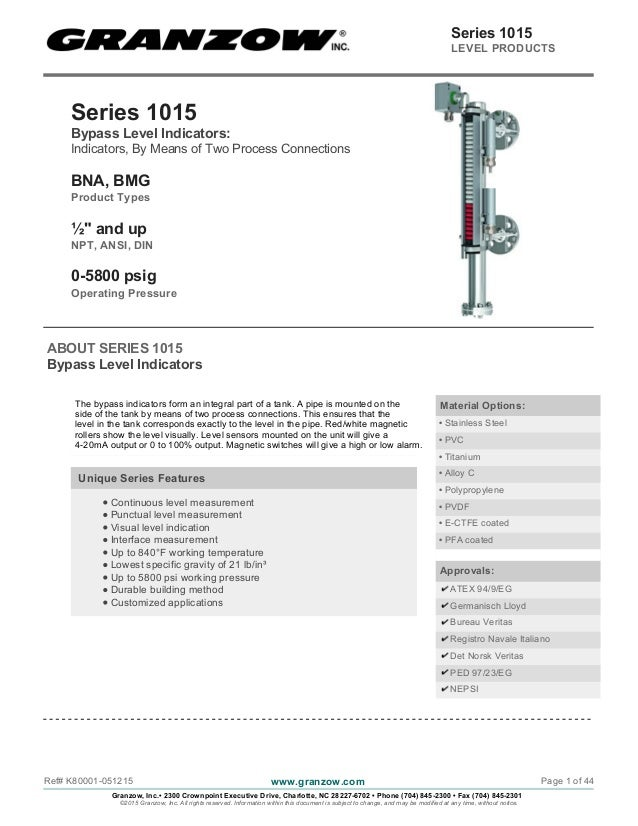 "Series 1015 Bypass Level Indicators: Indicators, By Means of Two Process Connections BNA, BMG Product Types ½"" and up NPT,..."