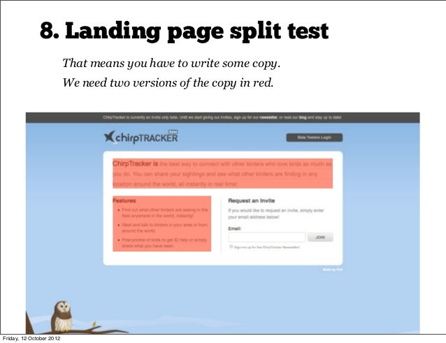 8. Landing page split test                                                                                          ~15 mi...