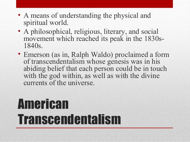 transcendentalist movement discussion essay The movement began as an informal boston discussion club  although the transcendentalist movement never produced a  in his essay on transcendentalism.