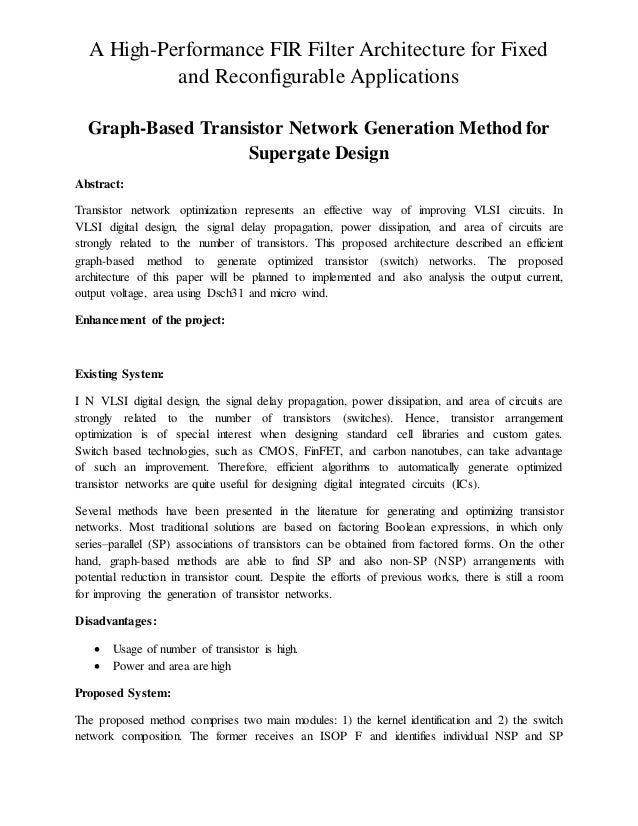 Graph based transistor network generation method for