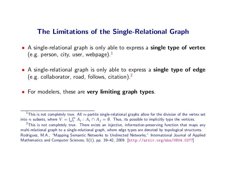 The Limitations of the Single-Relational Graph  • A single-relational graph is only able to express a single type of verte...