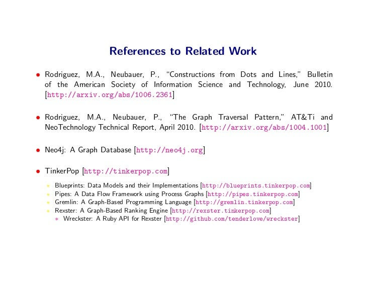 """References to Related Work • Rodriguez, M.A., Neubauer, P., """"Constructions from Dots and Lines,"""" Bulletin   of the America..."""