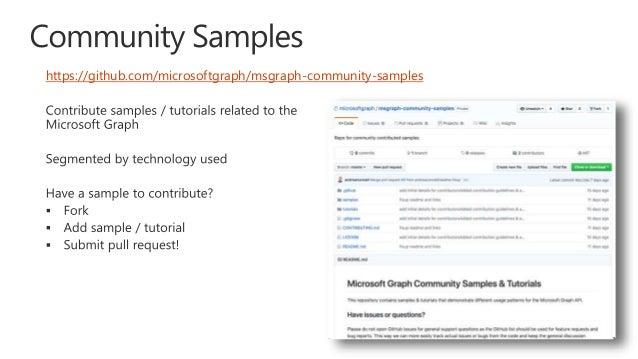 Microsoft Graph community call - April, 2018