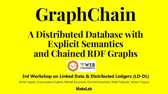 A Distributed Database with Explicit Semantics and Chained RDF Graphs GraphChain Mirek Sopek, Przemysław Grądzki, Witold K...