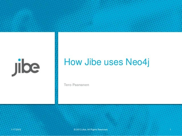 How Jibe uses Neo4j Tero Paananen  11/7/2013  © 2013 Jibe. All Rights Reserved.  1