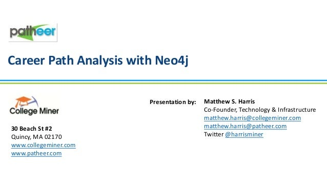 Career Path Analysis with Neo4j Presentation by:  30 Beach St #2 Quincy, MA 02170 www.collegeminer.com www.patheer.com  Ma...