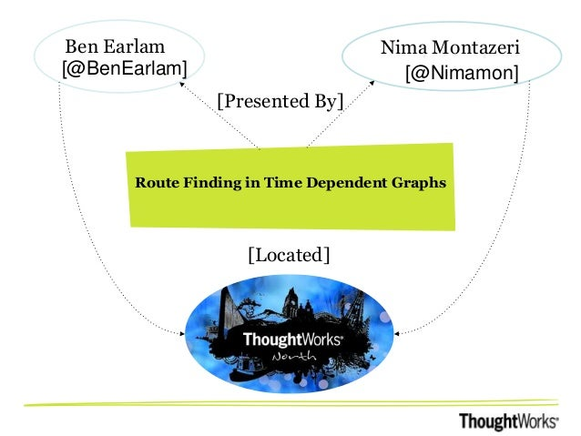 Ben Earlam [@BenEarlam]  Nima Montazeri [@Nimamon]  [Presented By]  Route Finding in Time Dependent Graphs  [Located]