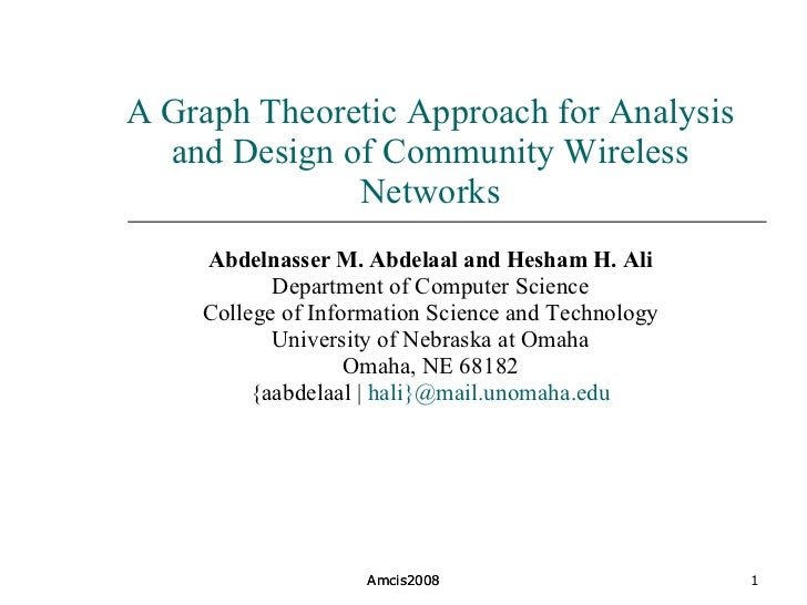 A Graph Theoretic Approach for Analysis and Design of Community Wireless Networks Abdelnasser M. Abdelaal and Hesham H. Al...