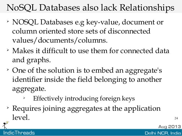 24 NoSQL Databases also lack Relationships  NOSQL Databases e.g key-value, document or column oriented store sets of disc...