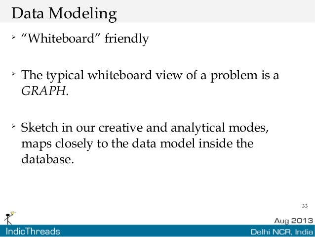 """33 Data Modeling  """"Whiteboard"""" friendly  The typical whiteboard view of a problem is a GRAPH.  Sketch in our creative a..."""