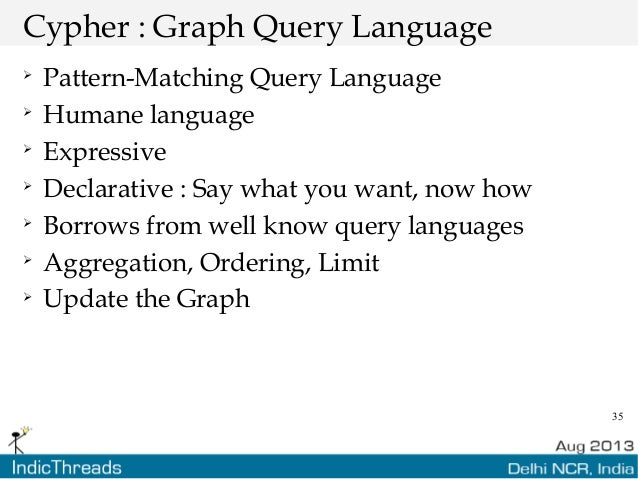 35 Cypher : Graph Query Language  Pattern-Matching Query Language  Humane language  Expressive  Declarative : Say what...