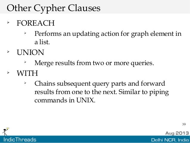 39 Other Cypher Clauses  FOREACH  Performs an updating action for graph element in a list.  UNION  Merge results from ...