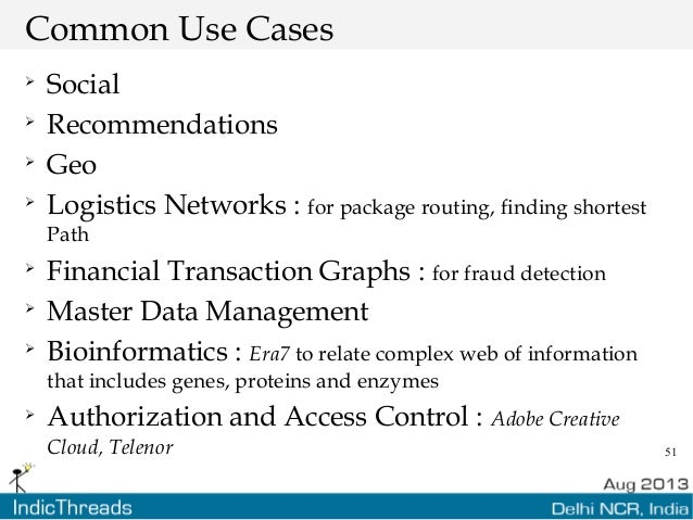 51 Common Use Cases  Social  Recommendations  Geo  Logistics Networks : for package routing, finding shortest Path  F...