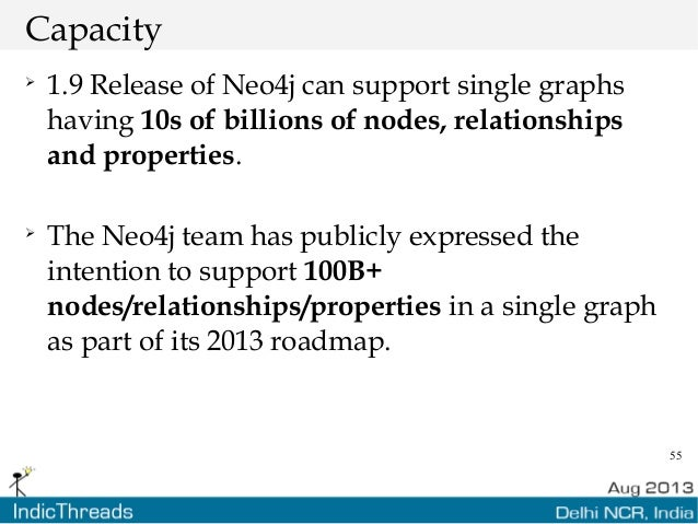 55 Capacity  1.9 Release of Neo4j can support single graphs having 10s of billions of nodes, relationships and properties...