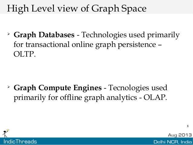 8 High Level view of Graph Space  Graph Databases - Technologies used primarily for transactional online graph persistenc...