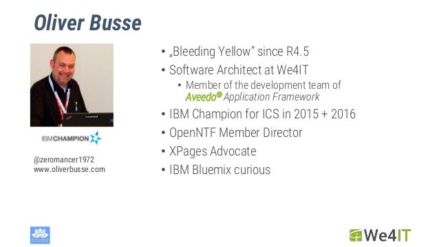"""Oliver Busse • """"Bleeding Yellow"""" since R4.5 • Software Architect at We4IT • Member of the development team of Aveedo® Appl..."""