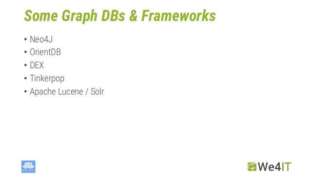 Some Graph DBs & Frameworks • Neo4J • OrientDB • DEX • Tinkerpop • Apache Lucene / Solr