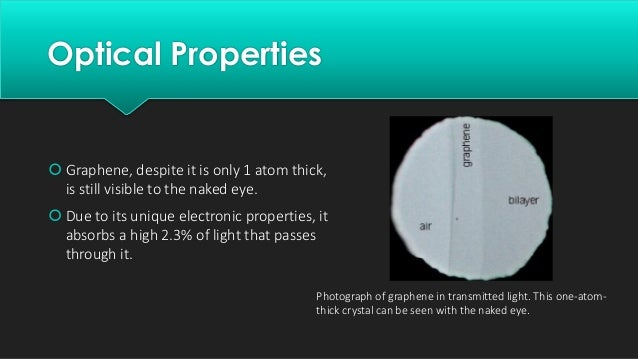 Applications While as of 2014, graphene is not used in commercial applications, many have been proposed and/or are under a...