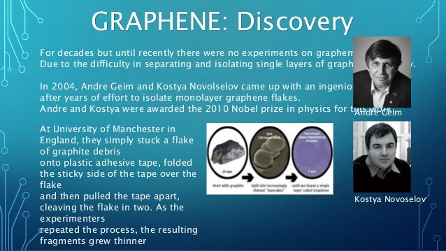 GRAPHENE: Discovery For decades but until recently there were no experiments on grapheme, Due to the difficulty in separat...