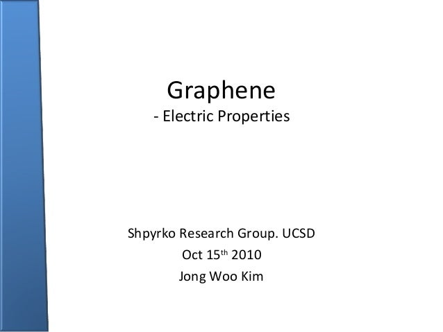 Graphene  - Electric Properties  Shpyrko Research Group. UCSD Oct 15th 2010 Jong Woo Kim
