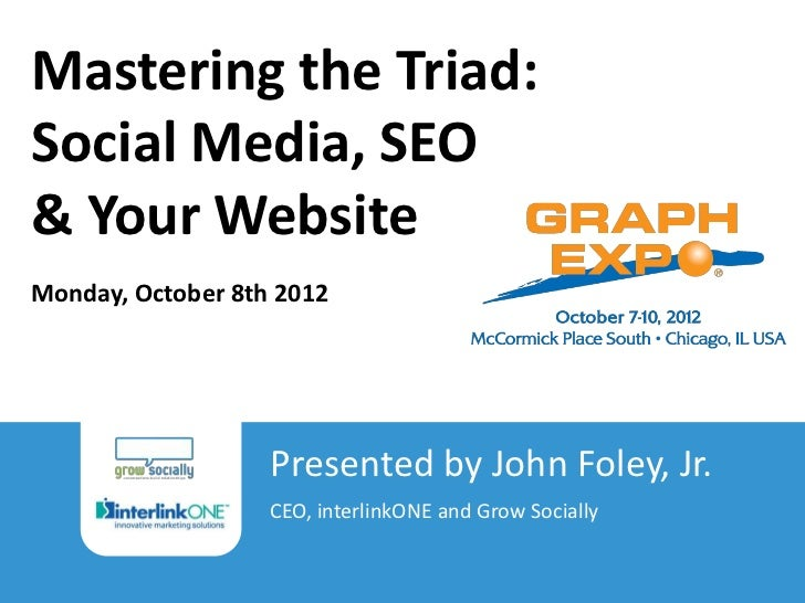 Mastering the Triad:Social Media, SEO& Your WebsiteMonday, October 8th 2012                                          Prese...
