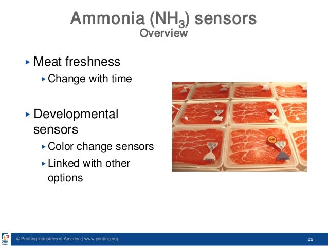 © Printing Industries of America   www.printing.org 26 Ammonia (NH3) sensors Overview ▶ Meat freshness ▶ Change with time ...