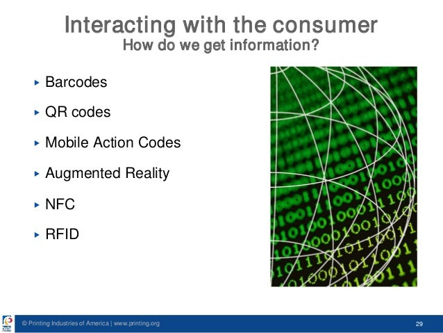 © Printing Industries of America   www.printing.org 29 Interacting with the consumer How do we get information? ▶ Barcodes...