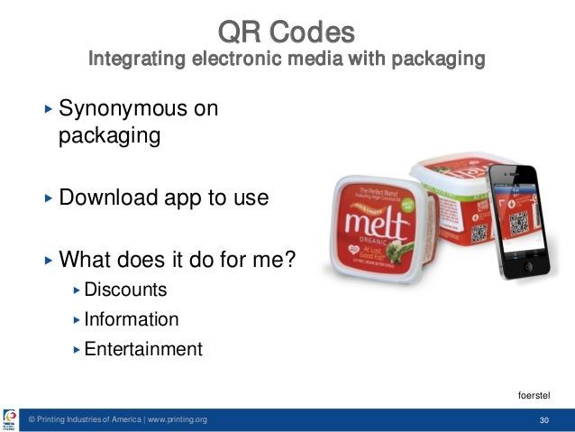 © Printing Industries of America   www.printing.org 30 QR Codes Integrating electronic media with packaging ▶ Synonymous o...