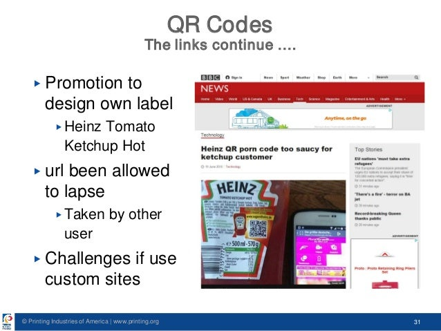 © Printing Industries of America   www.printing.org 31 QR Codes The links continue …. ▶ Promotion to design own label ▶ He...