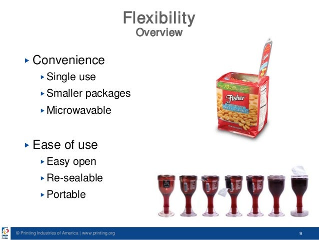 © Printing Industries of America   www.printing.org 9 Flexibility Overview ▶ Convenience ▶ Single use ▶ Smaller packages ▶...