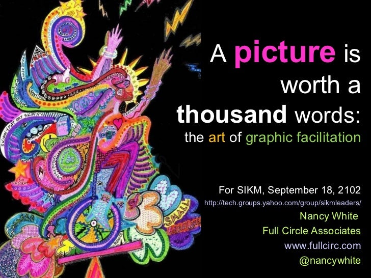 A picture is        worth athousand words:the art of graphic facilitation       For SIKM, September 18, 2102   http://tech...
